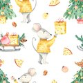Watercolor seamless pattern of happy christmas spruce rat cheese gifts