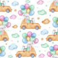 Watercolor seamless pattern happy easter cute bunny on car