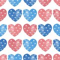 Watercolor seamless pattern with hearts. Vintage background 1