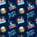 Watercolor seamless pattern holiday Happy Easter