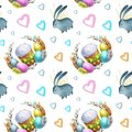 Watercolor seamless pattern holiday Happy Easter.