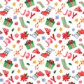 Watercolor seamless pattern with icons of Happy New Year and Christmas Day.