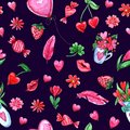 Watercolor Valentine`s day Seamless pattern