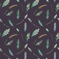 Watercolor seamless pattern of leaves