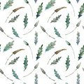 Watercolor seamless pattern of leaves on white