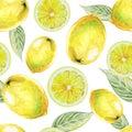 Watercolor seamless pattern of lemon fruit.