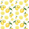 Watercolor seamless pattern with lemons. Hand painted citrus ornament on white background for design, fabric or print.