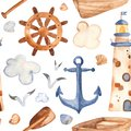 Watercolor seamless pattern with lighthouse, paddle, boat. Royalty Free Stock Photo