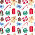 Watercolor seamless pattern with lollipop, fir branches, Christmas ball, bow, candle, holly, cinnamon, cardamom, poinsettia, cone