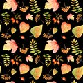 Watercolor Seamless Pattern With Bright Colors Forest Leaves And Branches. Beautiful Autumn Background In Orange, Green