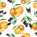 Watercolor seamless pattern olive and mandarin painted illustration on a white background texture for a healthy diet mediterranean Royalty Free Stock Images