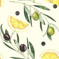 Watercolor seamless pattern with olives, lemon slices and black pepper