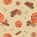 Watercolor seamless pattern orange anise and cinnamon sticks Stock Image