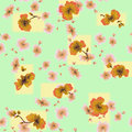 Watercolor seamless pattern orange flowers on a green-yellow background