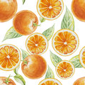 Watercolor seamless pattern of orange fruit with leafs Royalty Free Stock Photo