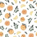 Watercolor seamless pattern with oranges tangerines citrus fruits green leaves