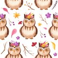 Watercolor seamless pattern with owl, branches, flowers, leaves.