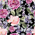Watercolor seamless pattern with peony flowers and lavender. Royalty Free Stock Photo