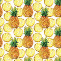 Watercolor seamless pattern with pineapples