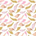 Watercolor seamless pattern of pink, brown, gold feathers.