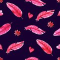Watercolor seamless pattern with pink feathers