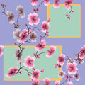 Watercolor seamless pattern pink flowers with geometric figures on a violet background