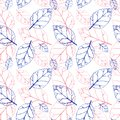 Watercolor seamless pattern with pink and orange autumn leaves. nature background