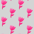 Watercolor seamless pattern with pink tulips Royalty Free Stock Photo
