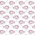 Watercolor seamless pattern with pink unicorn fish. Hand-drawn illustration