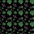 stock image of  Watercolor seamless pattern. Red and black currant berries and leaves