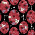 Watercolor seamless pattern with red poppies collected in the form of an Easter egg on a black background with white butterflies. Royalty Free Stock Photo