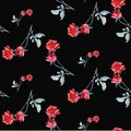 Watercolor seamless pattern with red roses and gray le aves on black background. Fine bright and elegant pattern Royalty Free Stock Photo