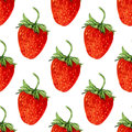 Watercolor seamless pattern with red strawberries dessert. Vector background. Hand drawn illustration for eco product design