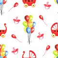 Watercolor seamless pattern with retro toys on white background