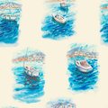 Watercolor seamless pattern with sea, boats, yachts Royalty Free Stock Photo
