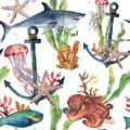 Watercolor seamless pattern with shark, anchor and sea animals. Hand painted plumeria, octopus, jellyfish, parrotfish