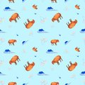 Watercolor Seamless pattern of sheep with closed eyes, clouds and chamomiles. Illustration isolated on blue background