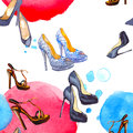 Watercolor seamless pattern with shoes