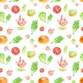 Watercolor Seamless pattern with shrimp, lime, tomato, salad, bun and herbs . Illustration isolated on white background