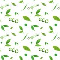 Watercolor seamless pattern simple green leaf eco, organic concept, lettering on white background.