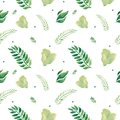 Watercolor seamless pattern spring leaves branches spots Plant illustration eco design
