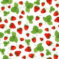 Watercolor seamless pattern with strawberries and leaves on the white background. Hand drawn illustration for eco product d Royalty Free Stock Photo