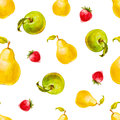 Watercolor seamless pattern with strawberries, pears and green apples. Royalty Free Stock Photo