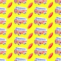 Watercolor seamless pattern with surfboard and campervan on yellow background, bright hand-drawn background.