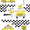 Watercolor seamless pattern taxi cars