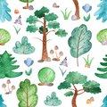 Watercolor seamless pattern with trees, pines, firs, flowers.