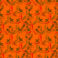 Watercolor seamless pattern. Tropical background. Parrots, palm