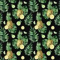 Watercolor seamless pattern with tropical leafs, pineapple and citrus fruits.