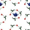 Watercolor seamless pattern tulip Royalty Free Stock Photo