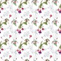Watercolor seamless pattern of twigs, flowers and fuchsia fruits